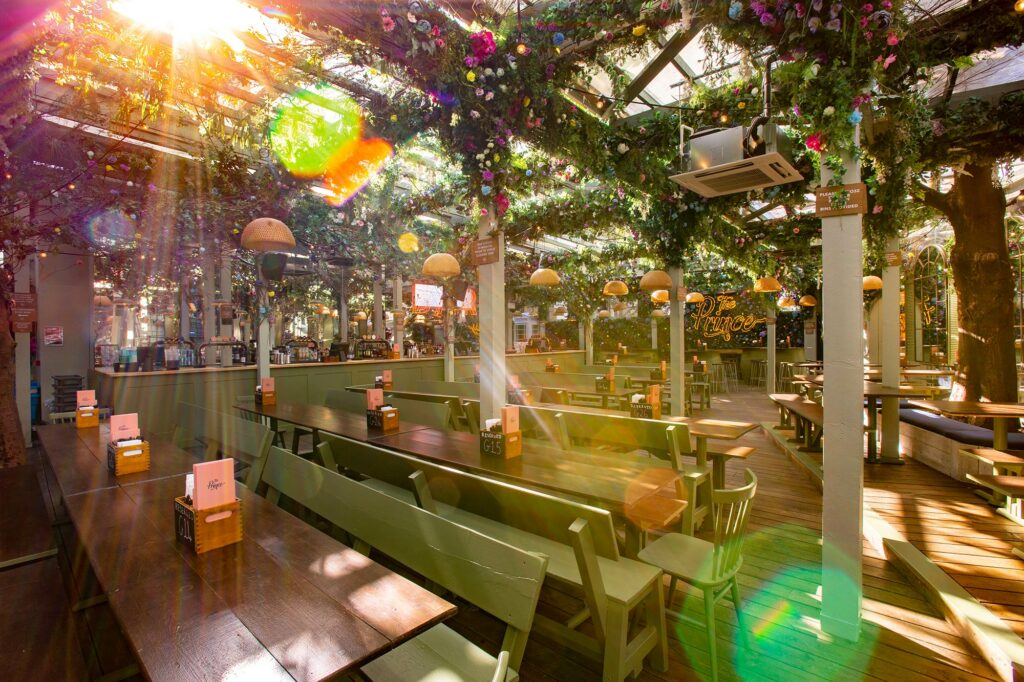 A picture of 'The Prince' beer garden in London.