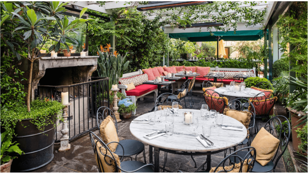 A picture of 'The Ivy Chelsea Garden' outdoor eating area in London