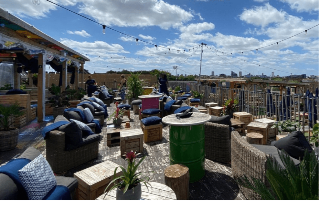 A picture of the outdoor rooftop bar at 'Skylight' in London.
