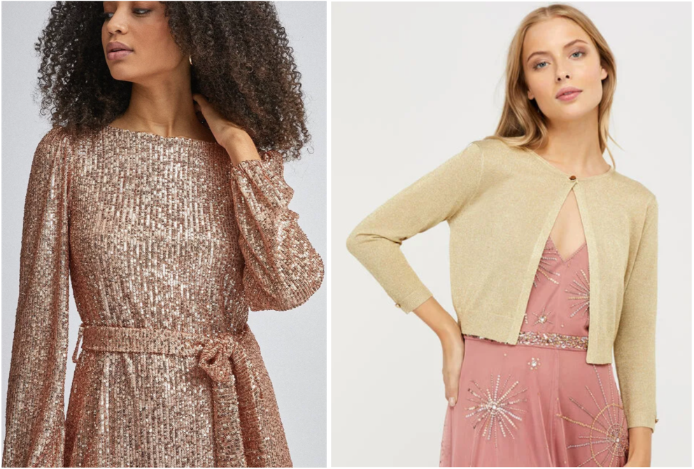 gold dress and cardigan, autumn winter 2020 fashion  trend