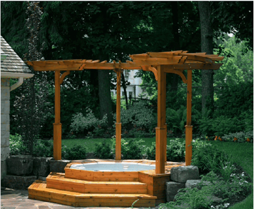 A picture containing tree, outdoor, wooden, orange  Description automatically generated